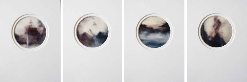 Fragments in Time Series I. Oil & inkjet print on translucent vellum. 21 x 14cm x 4